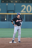 Caleb Hamilton (14) of the Oregon State Beavers stands at second base during a game against the UCLA Bruins at Jackie Robinson Stadium on April 4, 2015 in Los Angeles, California. UCLA defeated Oregon State, 10-5. (Larry Goren/Four Seam Images)