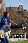 Lancaster City 0 FC Halifax Town 3, 15/10/2011, Giant Axe, FA Cup Third Qualifying Round. Action from the first half as Lancaster City play against FC Halifax Town in an FA Cup third qualifying round match at Giant Axe stadium, with Lancaster Castle visible in the background. The visitors, who play two leagues above their hosts in the English football pyramid, won the ties by three goals to nil, watched by a crowd of 646 spectators. Lancaster City were celebrating their centenary in 2011, although there was a dispute over the exact founding date over the club known as Dolly Blue. Photo by Colin McPherson.