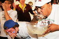 """""""Hungry"""" Charles Hardy at the I.F.O.C.E. sanctioned World Matzah Ball Eating Championship in New York City on April 20, 2005."""
