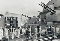 A salute is taken by President de Gaulle from the crew and officers of the French warship Colbert, which had just docked at Quebec city in 1967. The former French leader's tour of Quebec province ended rather abruptly after the then prime minister, Lester Pearson, rebuked the general for advocating a separate Quebec. The reaction of Canadians -- both inside and outside Quebec -- was swift and vehement: All denounced de Gaulle. De Gaulle said that since he wasn't welcome, he would cut his visit short.<br /> <br /> PHOTO :  Jeff Goode - Toronto Star Archives - AQP