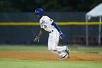 Diego Hernandez (4) of the Burlington Royals takes off for second base during the game against the Johnson City Cardinals at Burlington Athletic Stadium on September 4, 2019 in Burlington, North Carolina. The Cardinals defeated the Royals 8-6 to win the 2019 Appalachian League Championship. (Brian Westerholt/Four Seam Images)