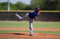 Texas Rangers pitcher Miguel Medrano (28) follows through on his delivery during an Instructional League game against the San Diego Padres on September 20, 2017 at Peoria Sports Complex in Peoria, Arizona. (Zachary Lucy/Four Seam Images)