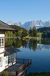 AUT, Oesterreich, Tirol, bei Kitzbuehel: Schwarzsee vorm Wilder Kaiser Gebirge | AUT, Austria, Tyrol, near Kitzbuehel: Schwarzsee (Black Lake) and Wilder Kaiser mountains