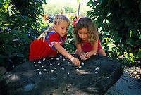 Two young girls playing konane (Hawaiian checkers) Sea life park, Oahu