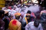 Thousands of Hindu devotees of Lord Krishna visit Vrindavan during Holi Festival.  Holi - The  Hindu festival of colour is celibrated for a week in the Brraj region of Uttar Pradesh, India.
