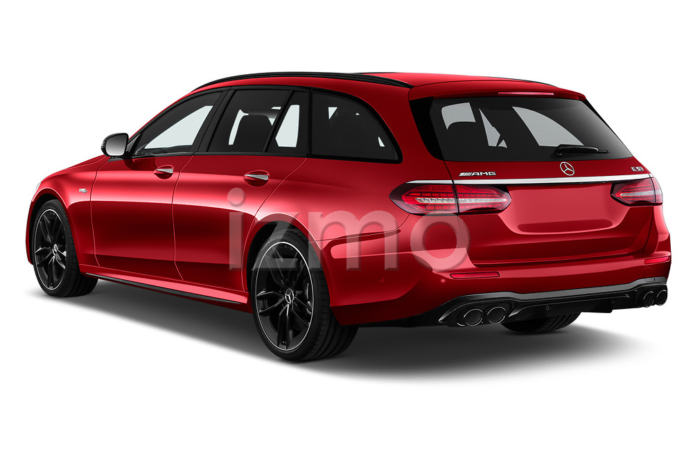 Car pictures of rear three quarter view of 2021 Mercedes Benz E-Class 53-AMG 5 Door Wagon Angular Rear
