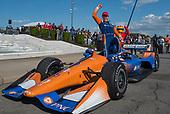 Scott Dixon, Chip Ganassi Racing Honda, celebrates race win.