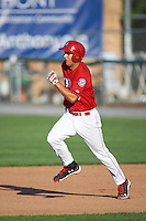 Auburn Doubledays first baseman Ryan Ripken (20) running the bases during a game against the Mahoning Valley Scrappers on June 19, 2016 at Falcon Park in Auburn, New York.  Mahoning Valley defeated Auburn 14-3.  (Mike Janes/Four Seam Images)