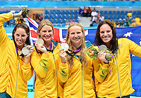 August 04, 2012..Alicia Coutts, Leisel Jones, Melanie Schlanger, Emily Seebohm pose with 4x100 Medley Silver Medal at the Aquatics Center on day eight of 2012 Olympic Games in London, United Kingdom.