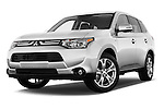 Stock pictures of low aggressive front three quarter view of a 2014 Mitsubishi Outlander Instyle 5 Door SUV