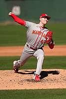 Freshman pitcher Jason Savacool (45) of the Maryland Terrapins, making his collegiate debut, pitched a complete-game 3-2 win against the Michigan State Spartans on Sunday, March 7, 2021, at Fluor Field at the West End in Greenville, South Carolina. (Tom Priddy/Four Seam Images)