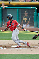 Jorge Mateo (14) of the Nashville Sounds bats against the Salt Lake Bees at Smith's Ballpark on July 27, 2018 in Salt Lake City, Utah. The Bees defeated the Sounds 8-6. (Stephen Smith/Four Seam Images)