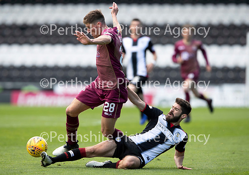 St Mirren v St Johnstone….27.04.19      St Mirren Park        SPFL<br />Ross Callachan is tackled by Ryan Flynn<br />Picture by Graeme Hart. <br />Copyright Perthshire Picture Agency<br />Tel: 01738 623350  Mobile: 07990 594431