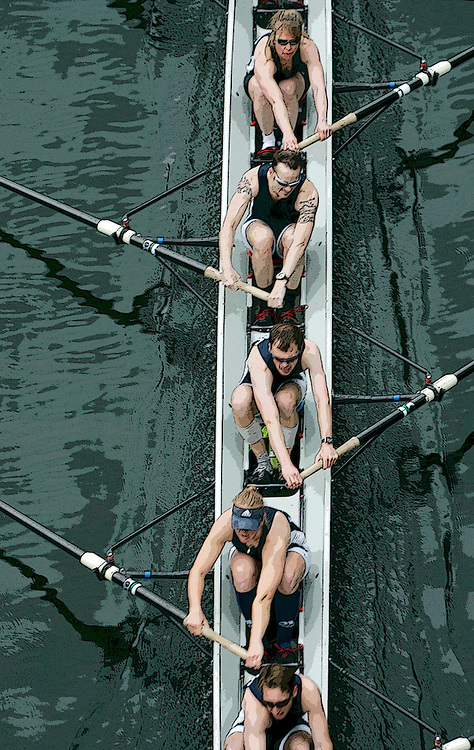 Rowing, Seattle, Windermere Cup, Regatta, mixed eight oared racing shell from above, Lake Washington Rowing Club, Montlake Cut, Washington State, Pacific Northwest, released,.