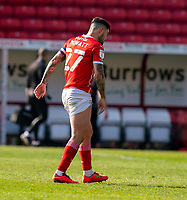 24th April 2021, Oakwell Stadium, Barnsley, Yorkshire, England; English Football League Championship Football, Barnsley FC versus Rotherham United; Captain Alex Mowatt of Barnsley hobbles off after the match