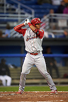 Williamsport Crosscutters third baseman Jan Hernandez (12) at bat during a game against the Batavia Muckdogs on August 27, 2015 at Dwyer Stadium in Batavia, New York.  Batavia defeated Williamsport 3-2.  (Mike Janes/Four Seam Images)