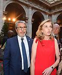 LAURA MATTARELLA CON COSIMO COMELLA<br /> RICEVIMENTO 14 LUGLIO 2021 AMBASCIATA DI FRANCIA<br /> PALAZZO FARNESE ROMA