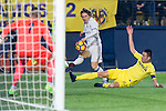 Luka Modric (c) of Real Madrid fights for the ball with Bruno Soriano Llido (r) of Villarreal CF during their La Liga match between Villarreal CF and Real Madrid at the Estadio de la Cerámica on 26 February 2017 in Villarreal, Spain. Photo by Maria Jose Segovia Carmona / Power Sport Images