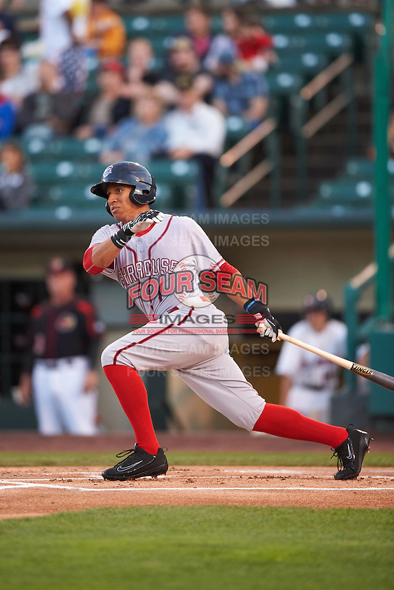 Syracuse Chiefs third baseman Chris Bostick (1) at bat during a game against the Rochester Red Wings on July 1, 2016 at Frontier Field in Rochester, New York.  Rochester defeated Syracuse 5-3.  (Mike Janes/Four Seam Images)