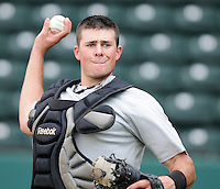 Catcher Mike Blanke (32) of the Kannapolis Intimidators, Class A affiliate of the Chicago White Sox, in a game against the Greenville Drive May 25, 2011, at Fluor Field at the West End in Greenville, S.C. Photo by Tom Priddy / Four Seam Images