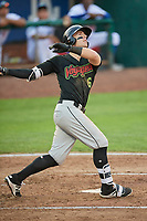 Max Dutto (6) of the Great Falls Voyagers bats against the Ogden Raptors at Lindquist Field on August 16, 2017 in Ogden, Utah. The Voyagers defeated the Raptors 11-6. (Stephen Smith/Four Seam Images)
