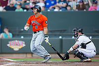 Christian Correa (8) of the Buies Creek Astros follows through on his swing against the Winston-Salem Dash at BB&T Ballpark on April 15, 2017 in Winston-Salem, North Carolina.  The Astros defeated the Dash 13-6.  (Brian Westerholt/Four Seam Images)