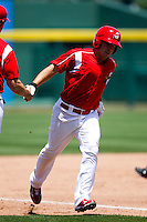 Zack Cox (7) of the Springfield Cardinals rounds third base after hitting a home run during a game against the San Antonio Missions on May 30, 2011 at Hammons Field in Springfield, Missouri.  Photo By David Welker/Four Seam Images