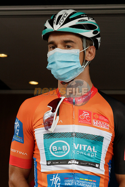 Masked race leader Bryan Coquard (FRA) B&B Hotels-Vital Concept/KTM at sign on before Stage 3 of the Route d'Occitanie 2020, running 163.5km from Saint-Gaudens to Col de Beyrède, France. 3rd August 2020. <br /> Picture: Colin Flockton | Cyclefile<br /> <br /> All photos usage must carry mandatory copyright credit (© Cyclefile | Colin Flockton)