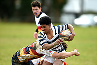Hopoate Finau Jr in action during the Otago 1st XV secondary schools rugby union match between John McGlashan College and Otago Boys' High School at John McGlashan College in Dunedin, New Zealand on Saturday, 4 July 2020. Photo: Joe Allison / lintottphoto.co.nz