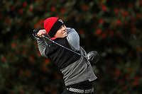 PINEHURST, NC - MARCH 02: Easton Paxton of North Carolina State University tees off on the first hole at Pinehurst No. 2 on March 02, 2021 in Pinehurst, North Carolina.