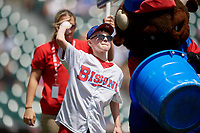 A young Buffalo Bisons fan participates in an on field promotion during an International League game against the Lehigh Valley IronPigs on June 9, 2019 at Sahlen Field in Buffalo, New York.  Lehigh Valley defeated Buffalo 7-6 in 11 innings.  (Mike Janes/Four Seam Images)