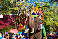 Thai prince and princess on an elephant above the crowd in traditional clothing during Loy Krathong festival in Sukhothai Historical Park, Thailand