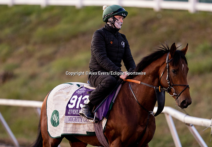 November 3, 2020: Mighty Gurkha, trained by trainer Archie Watson, exercises in preparation for the Breeders' Cup Juvenile Turf Sprint at  at Keeneland Racetrack in Lexington, Kentucky on November 3, 2020. Alex Evers/Eclipse Sportswire/Breeders Cup