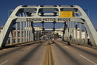 Selma, Edmund Pettus Bridge, Alabama, AL, Edmund Pettus Bridge famous for the Selma-to-Montgomery voting rights march lead by Martin Luther King Jr. in Selma.