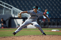 Coastal Carolina Chanticleers relief pitcher Josh Jarman (32) in action against the Duke Blue Devils at Segra Stadium on November 2, 2019 in Fayetteville, North Carolina. (Brian Westerholt/Four Seam Images)
