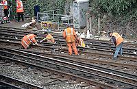 London Transport underground rail emergency crews attending a train a de-railment. They are repairing the track..©shoutpictures.com..john@shoutpictures.com