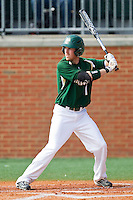 Shane Brown #1 of the Charlotte 49ers at bat against the Saint Peter's Peacocks at Robert and Mariam Hayes Stadium on February 18, 2012 in Charlotte, North Carolina.  Brian Westerholt / Four Seam Images