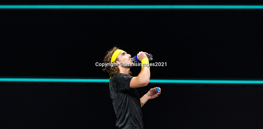 Rotterdam, The Netherlands, 2 march  2021, ABNAMRO World Tennis Tournament, Ahoy, First round match: Stefanos Tsitsipas (GRE).<br /> Photo: www.tennisimages.com/henkkoster