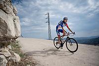 Steve Morabito (SUI/Groupama - FDJ) rolling back towards the teambusses after the stage<br /> <br /> Stage 6: Mora de Rubielos to Ares del Maestrat (199km)<br /> La Vuelta 2019<br /> <br /> ©kramon
