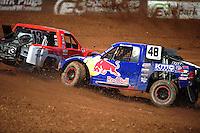 Apr 15, 2011; Surprise, AZ USA; LOORRS driver Ricky Johnson (48) hits John Harrah (13) during round 3 and 4 at Speedworld Off Road Park. Mandatory Credit: Mark J. Rebilas-.