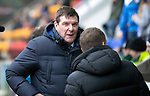 St Johnstone v Celtic…03.02.19…   McDiarmid Park    SPFL<br />Tommy Wright greets Brendan Rodgers<br />Picture by Graeme Hart. <br />Copyright Perthshire Picture Agency<br />Tel: 01738 623350  Mobile: 07990 594431