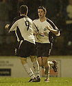 13/12/03          Copyright Pic : James Stewart.File Name : stewart011-ayr v st john.AYR'S RAMSAY (8) IS CONGRATULATED BY KEAN AFTER SCORING THE LATE EQUALISER.....Payment should be made to :-.James Stewart Photo Agency, 19 Carronlea Drive, Falkirk. FK2 8DN      Vat Reg No. 607 6932 25.Office     : +44 (0)1324 570906     .Mobile  : +44 (0)7721 416997.Fax         :  +44 (0)1324 570906.E-mail  :  jim@jspa.co.uk.If you require further information then contact Jim Stewart on any of the numbers above.........