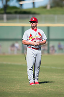 Surprise Saguaros manager Stubby Clapp (11), of the St. Louis Cardinals organization, during an Arizona Fall League game against the Scottsdale Scorpions at Scottsdale Stadium on October 26, 2018 in Scottsdale, Arizona. Surprise defeated Scottsdale 3-1. (Zachary Lucy/Four Seam Images)