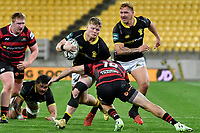 James O'Reilly of Wellington is tackled by Fergus Burke of Canterbury during the Bunnings NPC - Wellington v Canterbury at Sky Stadium, Wellington, New Zealand on Friday 8 October 2021.<br /> Photo by Masanori Udagawa. <br /> www.photowellington.photoshelter.comto