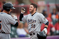 Akron RubberDucks Tyler Friis (38) high fives Ernie Clement (6) after hitting a home run during an Eastern League game against the Erie SeaWolves on June 2, 2019 at UPMC Park in Erie, Pennsylvania.  Akron defeated Erie 7-2 in the first game of a doubleheader.  (Mike Janes/Four Seam Images)