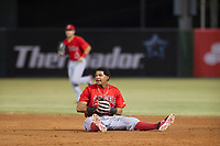 AZL Angels Gleyvin Pineda (72) laughs after falling while making a catch against the AZL White Sox on August 14, 2017 at Diablo Stadium in Tempe, Arizona. AZL Angels defeated the AZL White Sox 3-2. (Zachary Lucy/Four Seam Images)