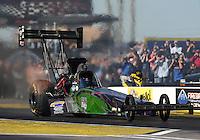 Feb. 22, 2013; Chandler, AZ, USA; NHRA top fuel dragster driver Leah Pruett during qualifying for the Arizona Nationals at Firebird International Raceway. Mandatory Credit: Mark J. Rebilas-