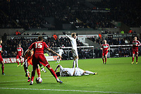 League Cup Quarter Final, Swansea V Middlesbrough, Liberty Stadium, 12/12/12<br /> Picture by: Ben Wyeth<br /> Pictured: (L-R) Seb Hines, Michu, Ki Sung-Yueng.<br /> Athena Picture Agency