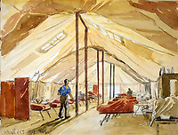 BNPS.co.uk (01202 558833)<br /> Pic: StroudAuctions/BNPS<br /> <br /> Pictured: Captain Theodore's sketch of a field hospital<br /> <br /> The poignant sketchbook of a World War One surgeon has been unearthed a century later.<br /> <br /> Captain Theodore Howard Somervell, of the Royal Medical Corps, treated hundreds of wounded Tommies in a field hospital at the Battle of the Somme. <br /> <br /> He was one of just four surgeons working flat-out in a tent, as scores of casualties lay dying on stretchers outside on the bloodiest in British military history.<br /> <br /> There is a sombre pencil sketch of a soldier on the operating table surrounded by a nurse and doctors. Another watercolour shows the bodies of soldiers strewn on a boggy Western Front battlefield.<br /> <br /> Capt Somervell, who was Mentioned In Despatches, drew landmarks including churches which were reduced to rubble in the deadly barrage. He also took rare photos of life on the frontline, including some taken inside an operating theatre. His sketchbook is being sold by a direct descendant with Stroud Auctions, of Gloucs.