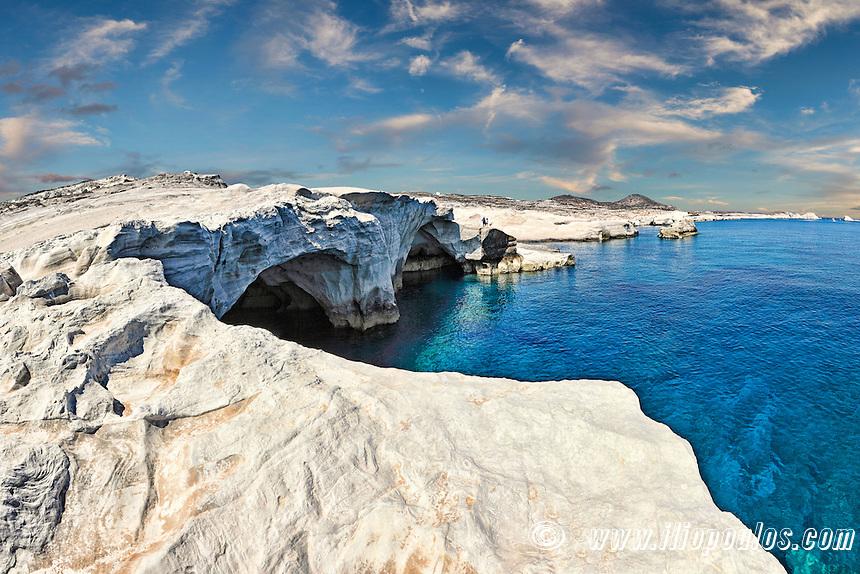 Rock formations in Sarakiniko of Milos, Greece